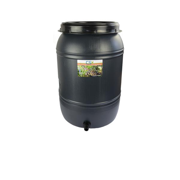 CS Drehdeckelfass 60 Liter grau mit Tankdurchführung für die drucklose Bewässerung